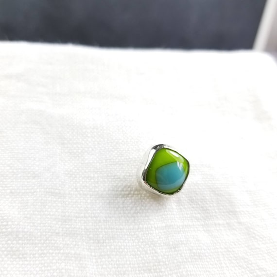 Aqua & Lime Green Fused Glass Tie Tack, Sterling Silver, Metalsmithed Jewelry, Single Brooch, Glass Pin, Made in Canada