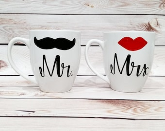 Coffee Mug Set of 2- Mr. and Mrs. his and hers lip and mustache Couples Wedding Gift Anniversary Gift