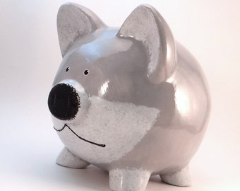 Gray Fox Piggy Bank - Personalized Piggy Bank - Woodland Bank - Wolf Piggy Bank -  Coyote Bank - Silver Fox Bank - with hole or NO hole