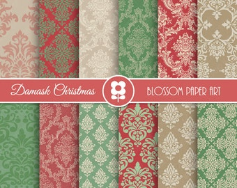 Christmas Damask Digital Paper, Christmas Red Green Damask Digital Paper Pack, Vintage Christmas Scrapbooking - INSTANT DOWNLOAD  - 2005
