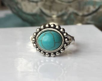 Best Seller! Turquoise Ring | Turquoise Jewelry | Vintage-esque Turquoise Ring | Statement Ring | Ring Gift | Turquoise Gift for Her