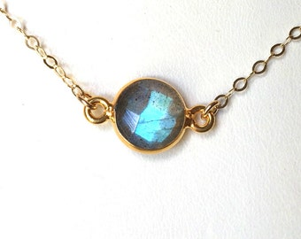 Labradorite Necklace, Choker necklace, Delicate Everyday Gray Labradorite necklace, Gold Filled or Sterling Chain