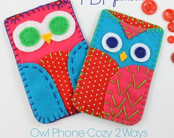 Owl Phone Cases. Digital Pattern. Sewing Pattern. Embroidery. Hand Sewing. Smart Phone. DIY Tutorial. Kids Crafts. Beginner pattern. Cute.