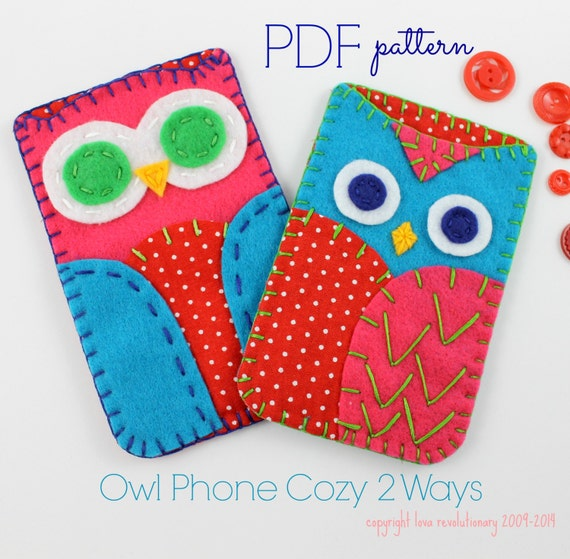 Owl Phone Cases. Digital Pattern. Sewing Pattern. Embroidery.