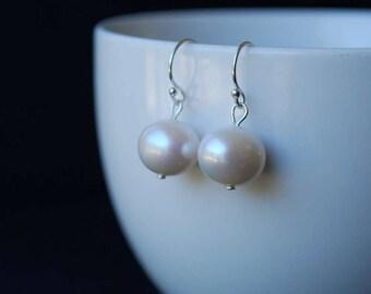 Classic Freshwater Pearl Earrings , Simple Elegant Design,  10mm Freshwater Potato Pearl Earrings, Sterling Silver Ear Wires