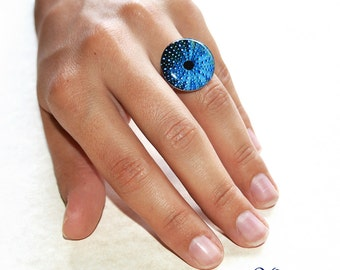 Sea urchin ring / Resin photo ring / Round blue ring / Whimsical ring / Ocean inspired ring / Mermaid jewellery / FREE SHIPPING
