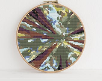 Abstract Redwood Grove Counted Cross Stitch Pattern