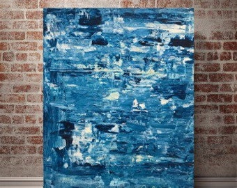 16x20 Blue Abstract Painting on Canvas