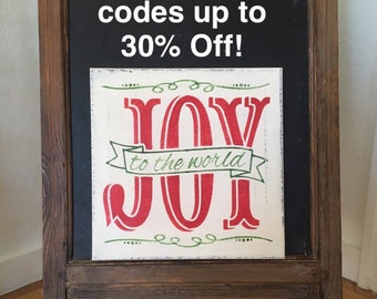 """Joy to the World / Hand painted Sign / Christmas Sign / 12"""" x 12"""" Annie Sloan Old White Chalk Paint and Various Red & Green Acrylics"""