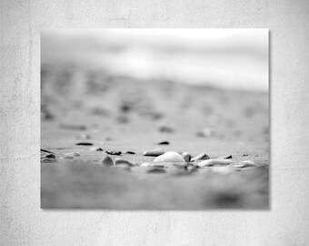 Beach photography Black and White Photography Pebble photography Coastal photography Grey White decor Seashore photography Photo print gift
