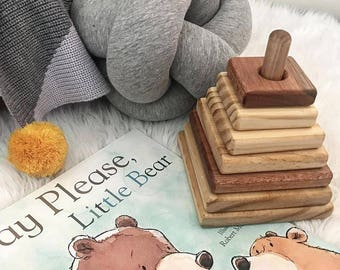 Square Tower Wood Stacking Toy