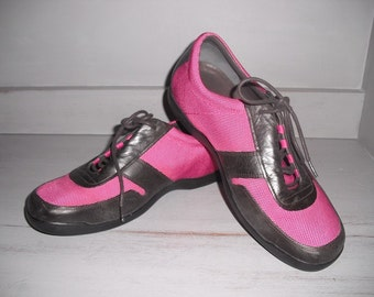 Vintage Hot PINK and Black Running Walking Shoes ~ Nike Air G Series Cole Haan Size 9 1/2
