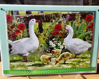 Easter greeting card Swans and babies