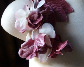 Rose Blush Flowers Velvet and Organza  for Bridal, Hats, Boutonnieres, Corsages MF 78