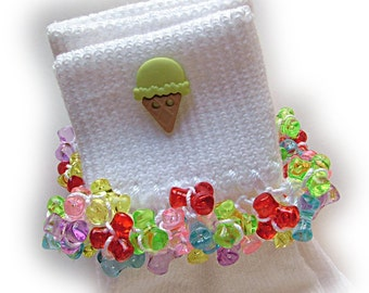 Kathy's Beaded Socks - Lime Ice Cream Cone socks, button socks, ice cream cone socks, lime socks,, beach socks, summer socks