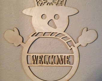Unfinished Wood Snowman welcome or name  23 inch tall x 17 inch wide
