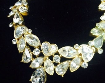 Vintage gold & clear Rhinestone Necklace