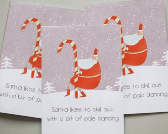 Christmas Cards 6 Pack - Funny Christmas Santa Pole Dancing Cards Set Cards XMPACK015_CP