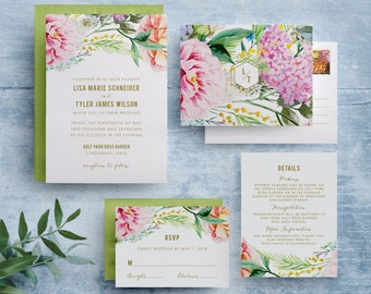 bohemian floral wedding invitations, garden floral wedding invitation, spring floral wedding invitation, botanical garden wedding invitation