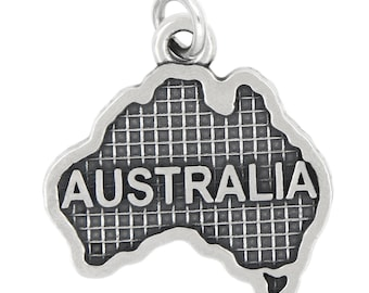 Sterling Silver Oxidized Travel map of Australia Charm (with Options)