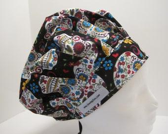 Sugar Skulls Bouffant Scrub Hat, or nurse, surgical tech