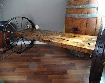 SOLD - Handcrafted antique wagon wheel bench