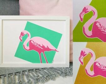 Flamingo Print, 3 COLOUR CHOICES, A4 Screenprint, Tropical, Flamingo Gift, Fun Home Decor, Colourful Print, Tropical Print, Bright Print