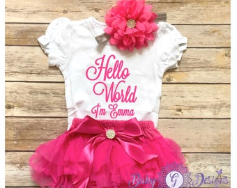 Newborn Girl Coming Home outfit, hot pink bloomers ,hello world , personalized coming home outfit