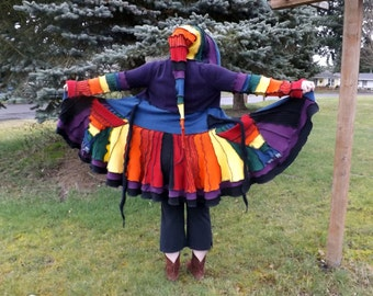 Custom Upcycled Sweater Pixie Coat - Rainbow Bright