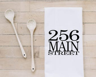 Tea Towel- Personalized Address , Made in the USA, housewarming gift, wedding favor, kitchen decor, anniversary present, calligraphy design