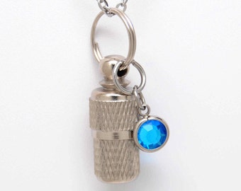 Capsule Urn Necklace with Aquamarine Colored Crystal Birthstone Charm    March Birthstone    Ashes Keepsake    Chain Choice