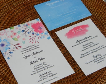 Floral Watercolor Wedding Invitation Suite, Wedding Invitation, Watercolor Wedding, Floral Wedding, Watercolor, Watercolor flowers