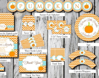 Little Pumpkin Baby Shower Party Pack -- Printable Custom DIY