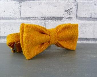 Harris Tweed Bow Tie - Mustard Yellow, herringbone weave, mustard tweed bow tie
