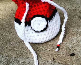 Crochet/Knit/Handmade Pokeball Bag - Dice Bag - Pokemon Satchel