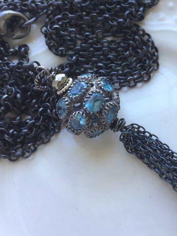 Blue Topaz Tassel Necklace