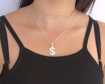 Dollar Sign Necklace , Sterling Silver Dollar Necklace,gold or rose dollars, Sign Necklace,atlasproject