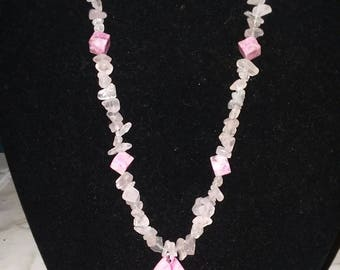 Hand crafted Rose quartz with pink agate necklace.