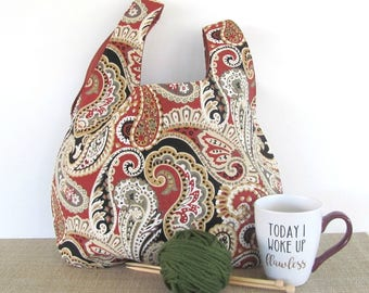 Large knitting project bag, paisley knitting bag, crochet bag, Japanese Knot bag knitting tote