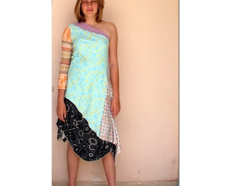 It Girl - Asymmetrical  One Sleeve Tunic - Orange and Turquoise  Combination Fabrics -  made by kathrin kneidl for resplendent rags