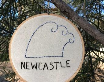 Newcastle blue wave. Original design. Handmade. Gift under 30.