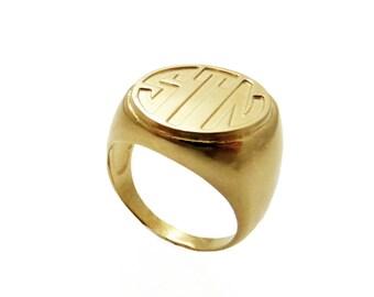 14k solid gold Monogram ring. Gold monogram ring. Unisex ring. Initial ring. Gift for him. Gold signet ring. Personalized ring. Men initial