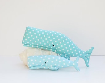 Plush whale toy stuffed whales teal turquoise polka dot softie whale sea creatures child friendly toys baby shower gift idea nursery decor