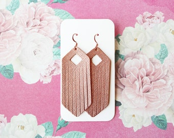 Rose Gold Fringe Leather Drop Earrings, rose gold jewelry, fringe earrings, fringe jewelry, the leather drop, rose gold earrings