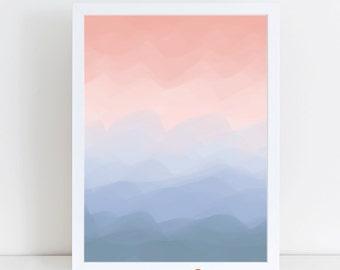 Nursery Decor, Printable Wall Art, Rose Quartz Pink, Serenity Blue, Printable Artwork, Wall Art Printables, Printable Wall Decor