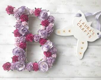 15cm flower letter, floral letter, wall decor, new baby gift, baby shower gift, wedding decor