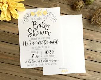 Baby Shower Invite - Yellow Flower Baby Shower Invitation - Baby Shower Invitation - Party Invitation