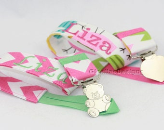 Set of 2 Personalized Pacifier Clip, Baby Pacifier clip, Custom made pacifier clip, Baby shower gift