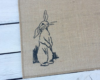 Rabit place mats, rabbit centerpiece, burlap Easter mat