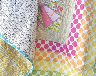 Modern Rainbow Quilt - Cross Quilt - Heather Ross Fabric - Baby Crib Quilt - Play Mat